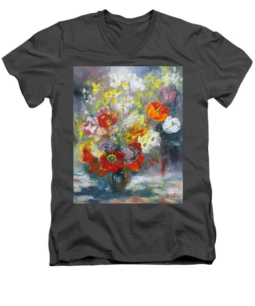Men's V-Neck T-Shirt featuring the painting Tulips, Narcissus And Forsythia by Ryn Shell