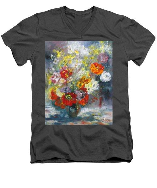 Tulips, Narcissus And Forsythia Men's V-Neck T-Shirt