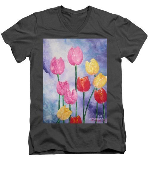 Men's V-Neck T-Shirt featuring the painting Tulips - Red-yellow-pink by Sigrid Tune