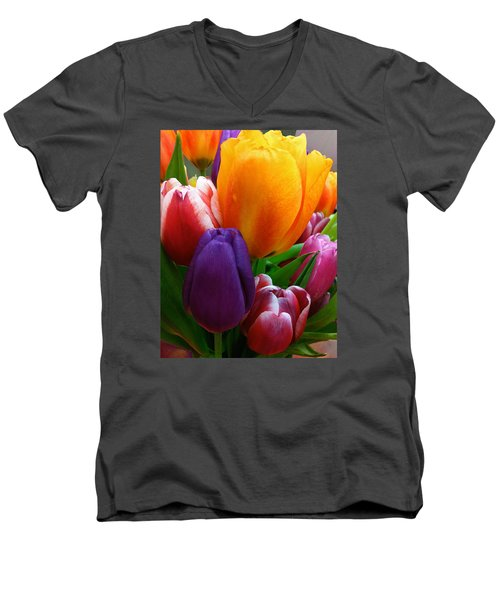 Men's V-Neck T-Shirt featuring the photograph Tulips Smiling by Marie Hicks
