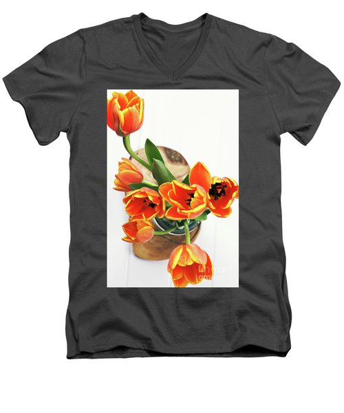 Men's V-Neck T-Shirt featuring the pyrography Tulips by Stephanie Frey