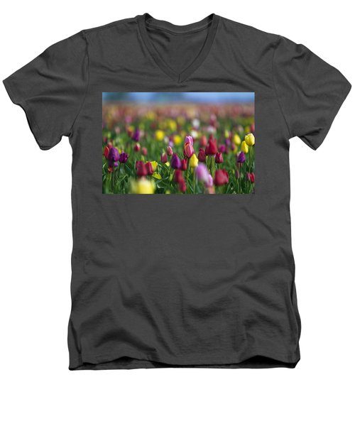 Men's V-Neck T-Shirt featuring the photograph Tulips by William Lee