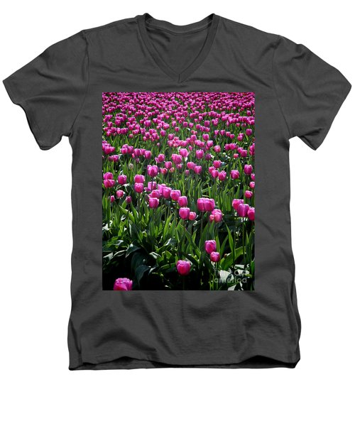 Men's V-Neck T-Shirt featuring the photograph Purple Tulips by Peter Simmons