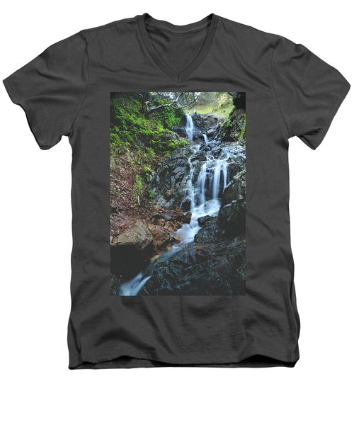Men's V-Neck T-Shirt featuring the photograph Tumbling Down by Laurie Search