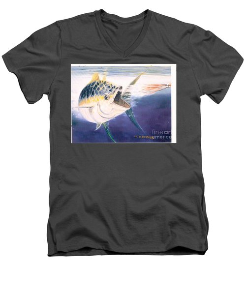 Tuna To The Lure Men's V-Neck T-Shirt by Bill Hubbard