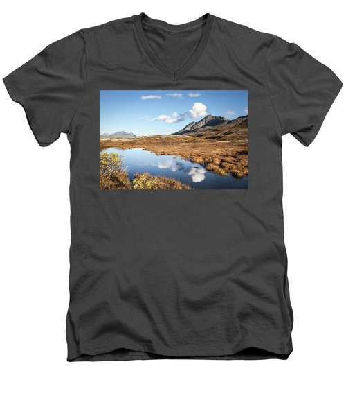Tundra Pond Reflections In Fall Men's V-Neck T-Shirt