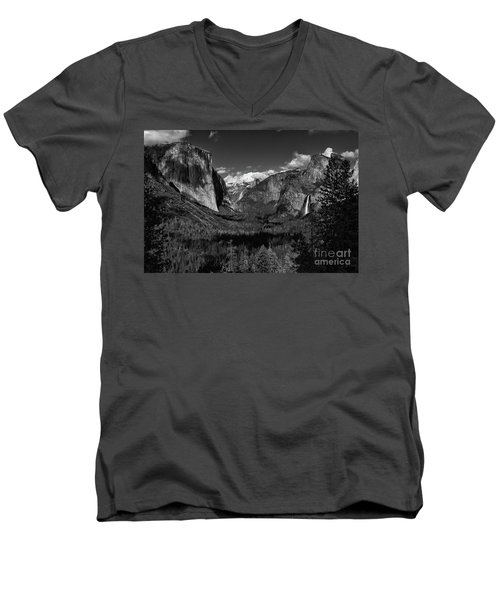 Tunnel View Black And White  Men's V-Neck T-Shirt