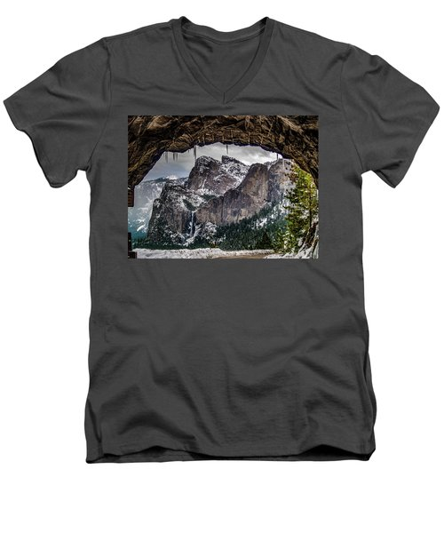 Men's V-Neck T-Shirt featuring the photograph Tunnel View From The Tunnel by Bill Gallagher