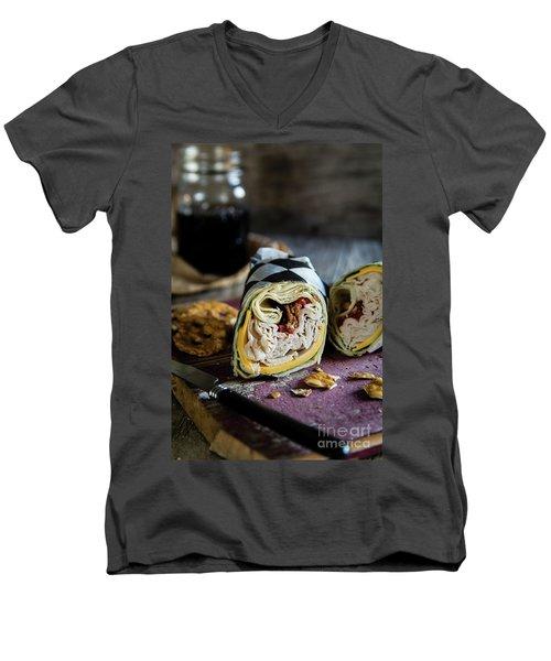 Men's V-Neck T-Shirt featuring the photograph Turkey Bacon Wrap 1 by Deborah Klubertanz