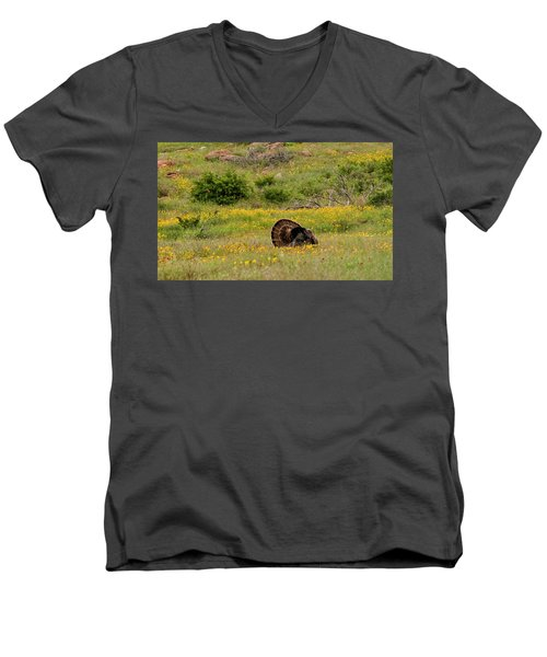 Turkey In Wichita Mountains Men's V-Neck T-Shirt