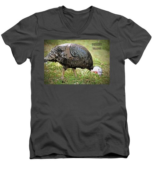 Turkey Season Men's V-Neck T-Shirt by Marion Johnson