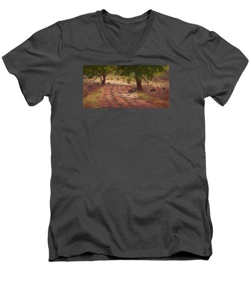 Turkey Tracks Men's V-Neck T-Shirt by Jane Thorpe