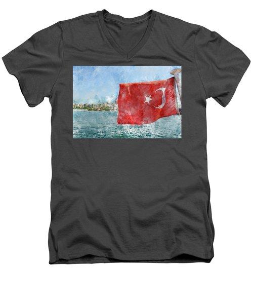 Turkish Flag Men's V-Neck T-Shirt