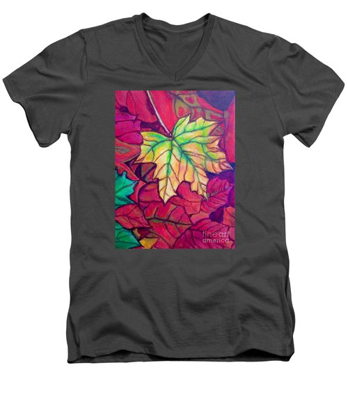 Turning Maple Leaf In The Fall Men's V-Neck T-Shirt by Kimberlee Baxter