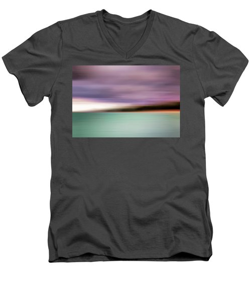 Men's V-Neck T-Shirt featuring the photograph Turquoise Waters Blurred Abstract by Adam Romanowicz