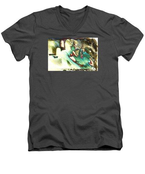 Turquoise Embrace Men's V-Neck T-Shirt by Andrea Barbieri