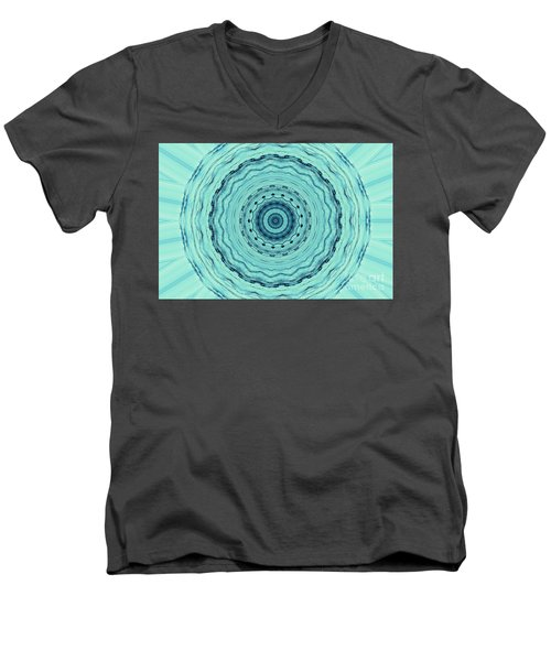 Turquoise Serenade Men's V-Neck T-Shirt by Sheila Ping