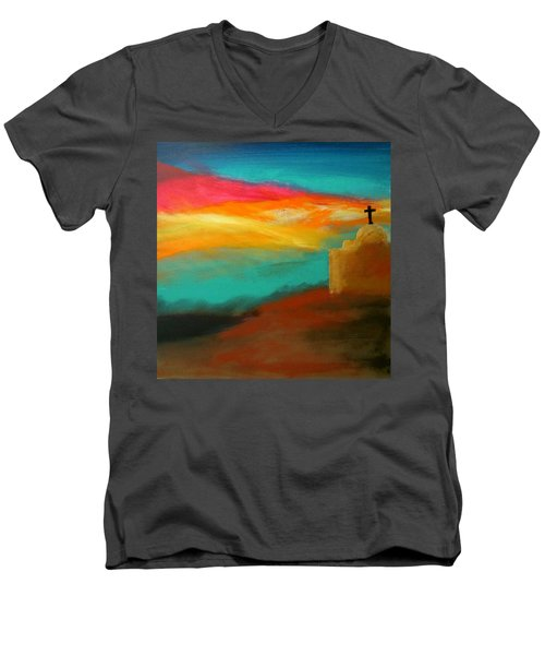 Turquoise Trail Sunset Men's V-Neck T-Shirt