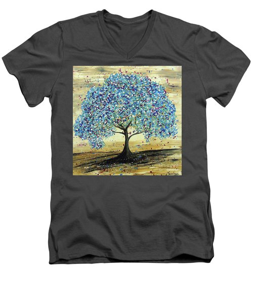 Turquoise Tree Men's V-Neck T-Shirt