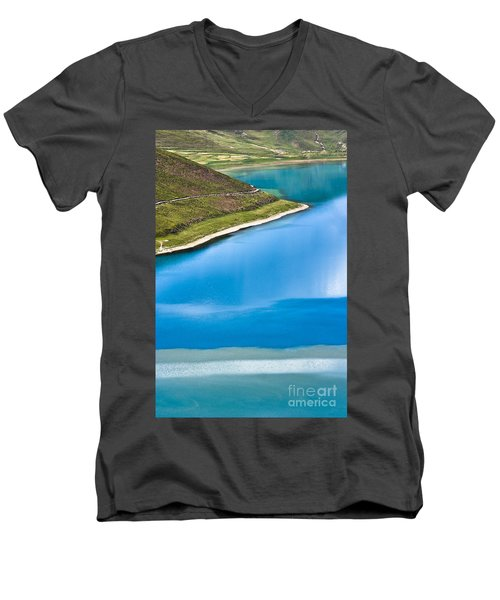 Turquoise Water Men's V-Neck T-Shirt by Hitendra SINKAR