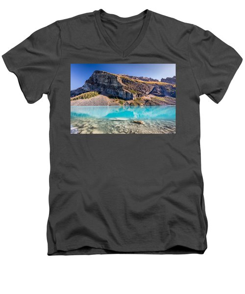 Turquoise Water Of The Scenic Lake Louise Men's V-Neck T-Shirt by Pierre Leclerc Photography