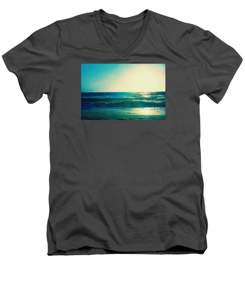 Turquoise Waves Men's V-Neck T-Shirt
