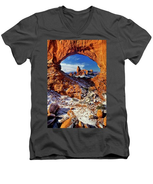 Turret Arch Through North Window Arches National Park Utah Men's V-Neck T-Shirt