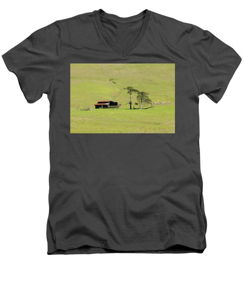 Men's V-Neck T-Shirt featuring the photograph Turri Road - San Luis Obispo Ca by Art Block Collections