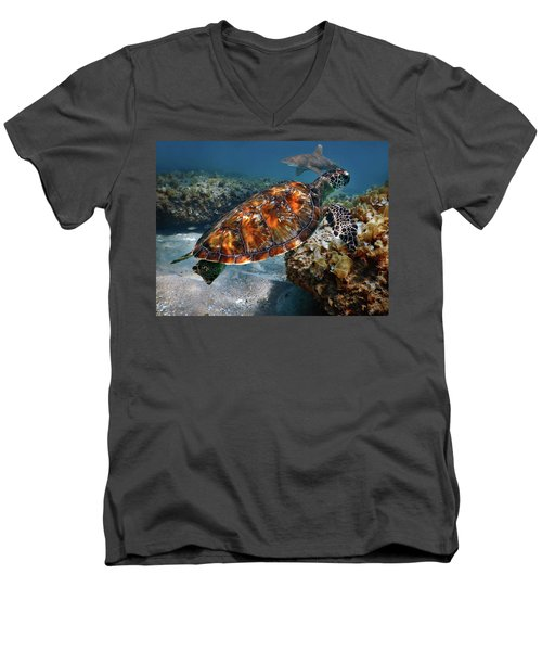 Turtle And Shark Swimming At Ocean Reef Park On Singer Island Florida Men's V-Neck T-Shirt by Justin Kelefas