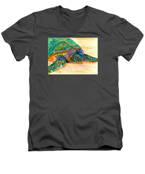 Men's V-Neck T-Shirt featuring the painting Turtle At Poipu Beach 7 by Marionette Taboniar
