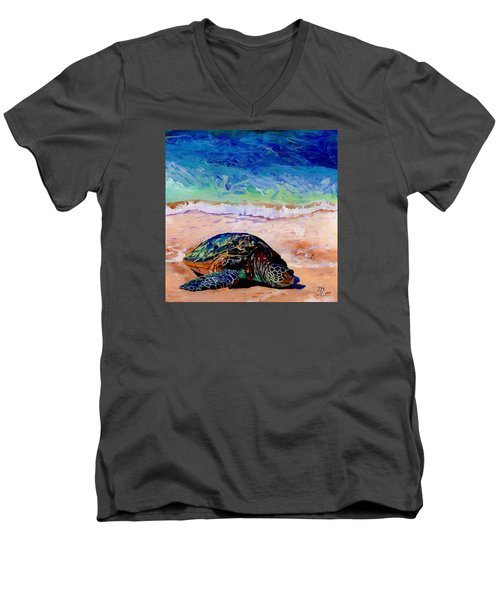Men's V-Neck T-Shirt featuring the painting Turtle At Poipu Beach 9 by Marionette Taboniar