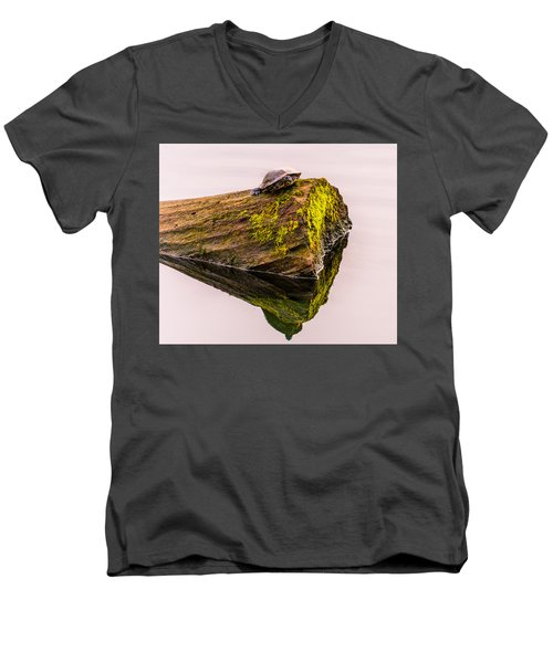 Men's V-Neck T-Shirt featuring the photograph Turtle Basking by Jerry Cahill