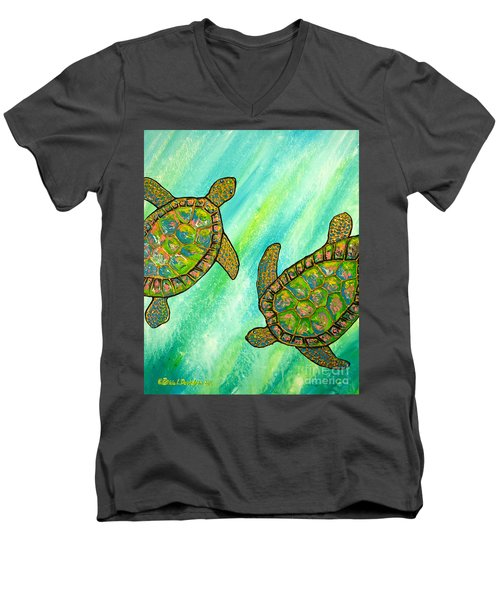Men's V-Neck T-Shirt featuring the painting Turtle Sea Dance by Patricia L Davidson