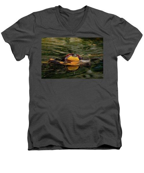 Turtle Taking A Swim Men's V-Neck T-Shirt