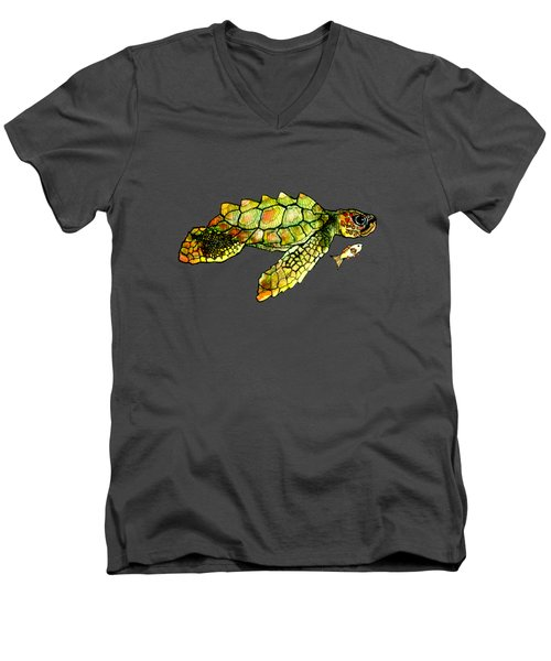 Turtle Talk Men's V-Neck T-Shirt by Candace Ho