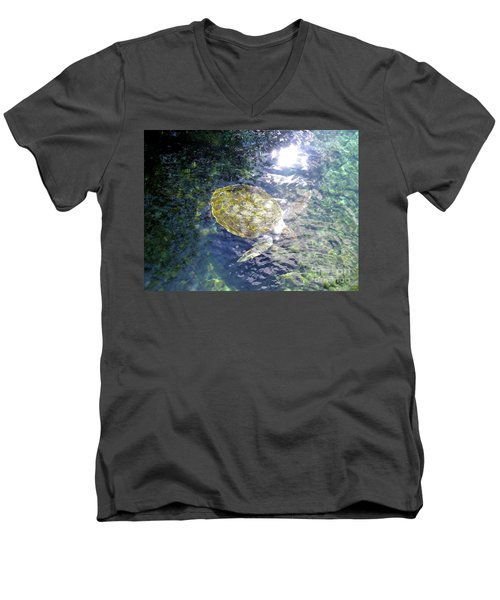Men's V-Neck T-Shirt featuring the photograph Turtle Water Glide by Francesca Mackenney