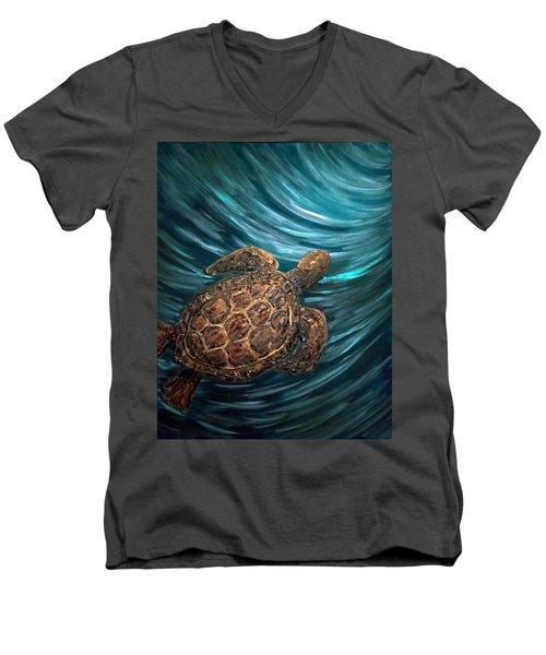 Turtle Wave Deep Blue Men's V-Neck T-Shirt