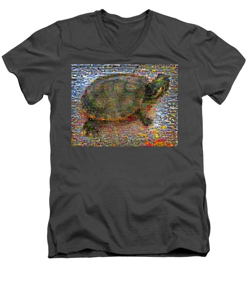 Men's V-Neck T-Shirt featuring the mixed media Turtle Wild Animals Mosaic by Paul Van Scott
