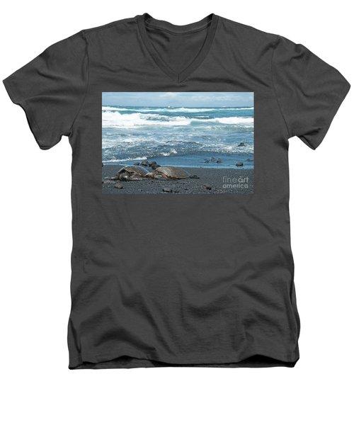 Turtles On Black Sand Beach Men's V-Neck T-Shirt