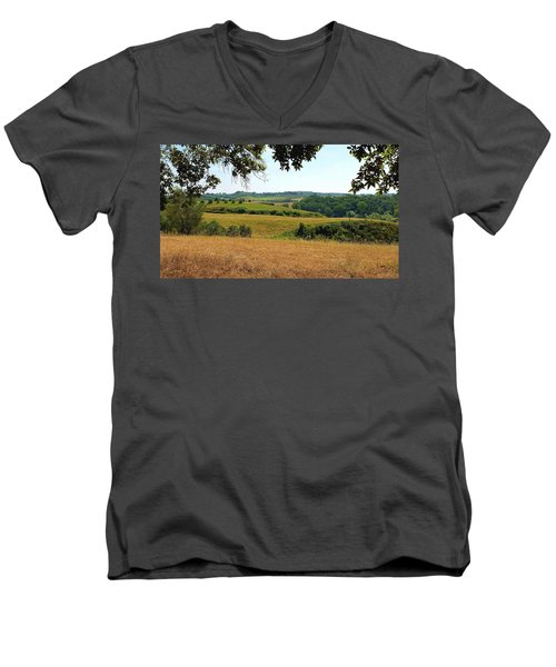 Men's V-Neck T-Shirt featuring the photograph Tuscan Country by Valentino Visentini
