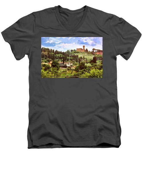 Tuscan Fields And Old Castle In Florence Men's V-Neck T-Shirt