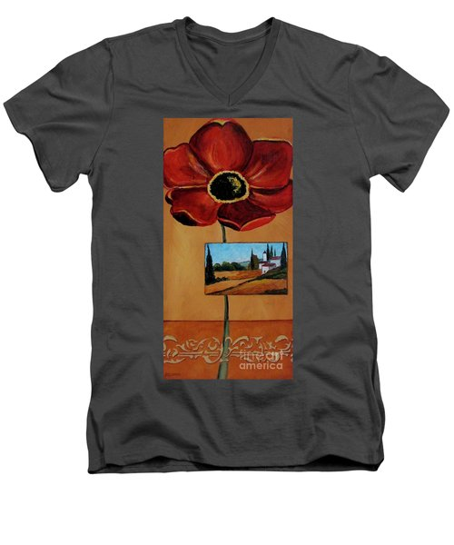 Tuscan Poppy Postcard Men's V-Neck T-Shirt