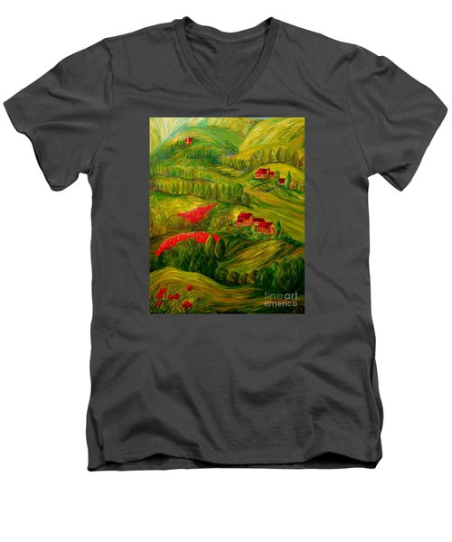 Men's V-Neck T-Shirt featuring the painting Tuscany At Dawn by Eloise Schneider