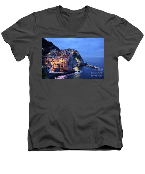 Men's V-Neck T-Shirt featuring the mixed media Tuscany Like Amalfi Cinque Terre Evening Lights by Rosario Piazza