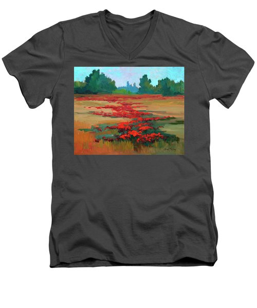 Tuscany Poppy Field Men's V-Neck T-Shirt by Diane McClary