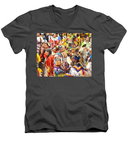 Tweens At Grand Entry Men's V-Neck T-Shirt by Clarice  Lakota