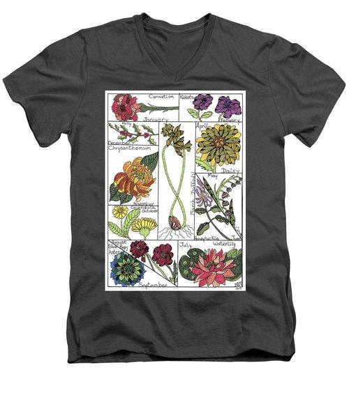 Twelve Month Flower Box Men's V-Neck T-Shirt
