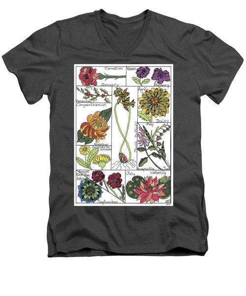 Twelve Month Flower Box Men's V-Neck T-Shirt