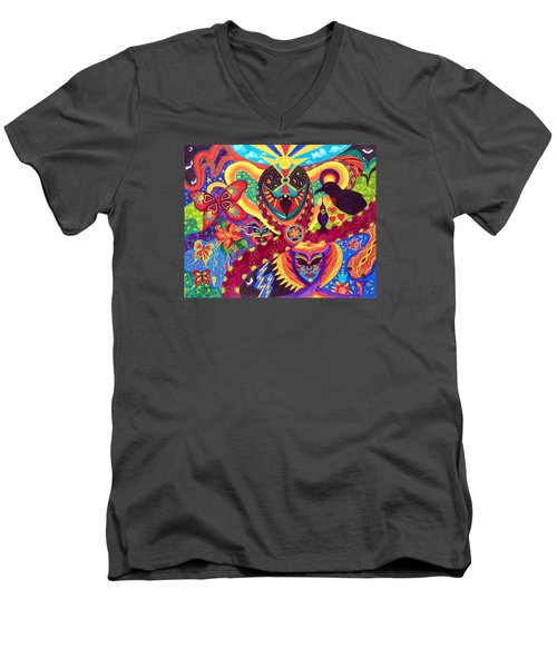 Men's V-Neck T-Shirt featuring the painting Raven's Watch by Marina Petro