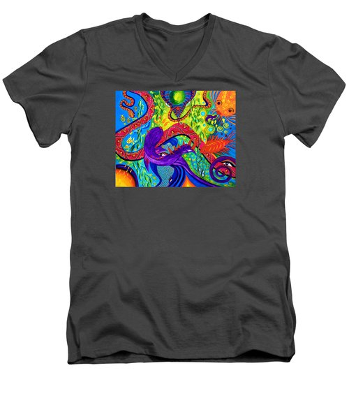Men's V-Neck T-Shirt featuring the painting Undersea Adventure by Marina Petro